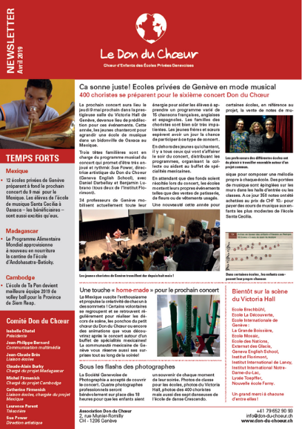 newsletter avril 2019